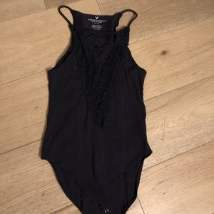 Open front, criss cross bodysuit